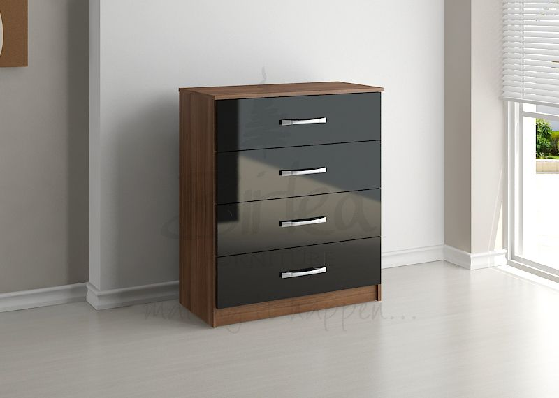 BIRLEA Lynx Black high gloss and walnut 4 Drawer Chest